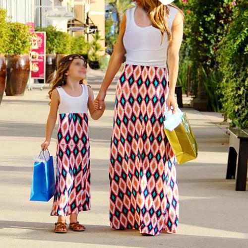 Casual Printed Patchwork Parent-child Dress