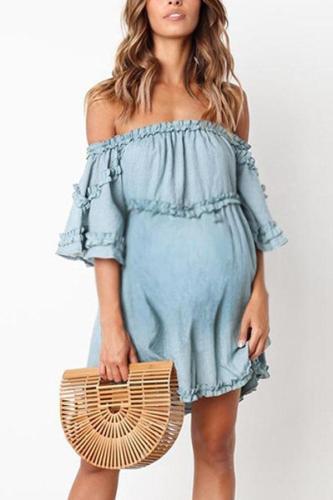Maternity Plain Off Shoulder Falbala Casual Above Dress