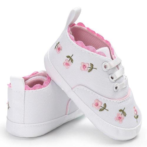 First walk Baby Girl Shoes Lace Floral Embroidered Soft Crib Shoes Prewalker Walking Toddler Kids Sneakers