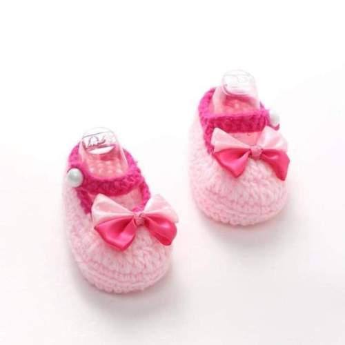 Crochet Casual Baby Girls Handmade Knit Woolen Bow Booties