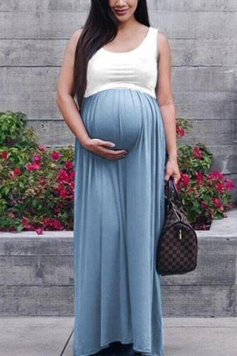 Maternity O-Neck Sleeveless Color Block Dress