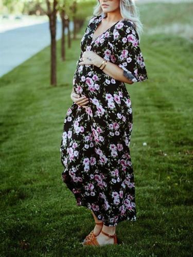 Maternity V-neck Floral Loose Long Dress