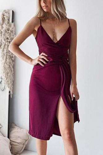 Maternity Sexy Plain Wrapped Chest Backless Lacing Dress
