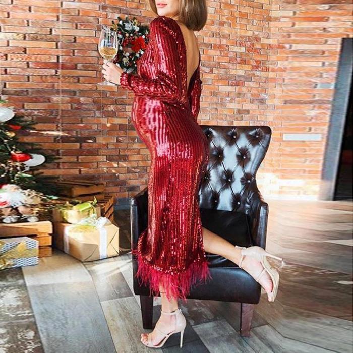 Maternity Fashion Bare Back Long Sleeve Splicing Tassel Dress