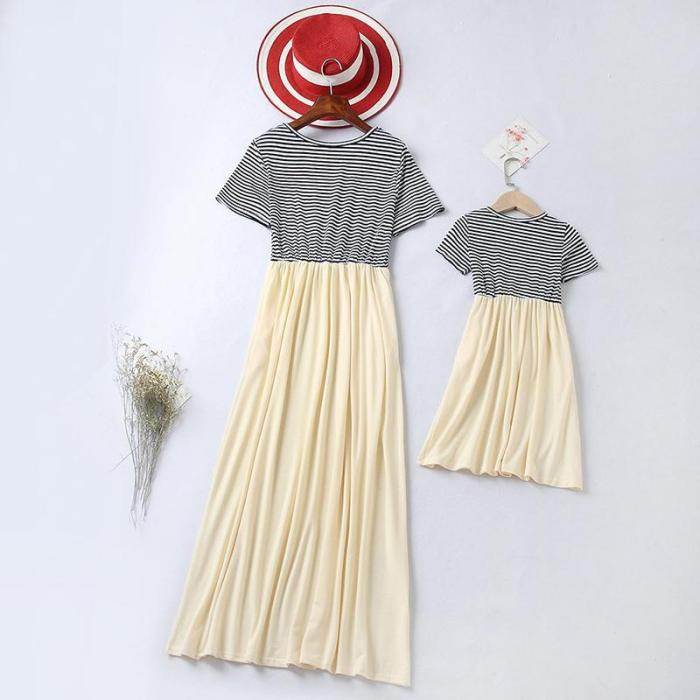 Mom Girl Short Sleeve Splicing Striped Matching Dress