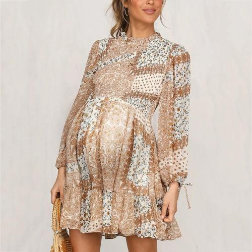 Maternity Print Long Sleeve Dress