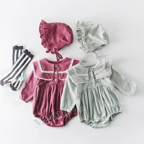 Spring New Baby Girl's Lapel Long Sleeve Romper Baby Cotton One Piece Creeper
