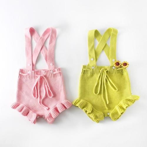 Candy color wooden ear edge baby knitted one-piece clothes hip suit baby sweater creeper
