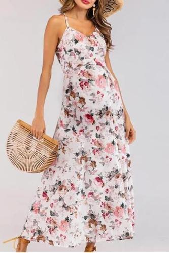 Maternity Sweet Holiday Sling Split Beach Print Dress