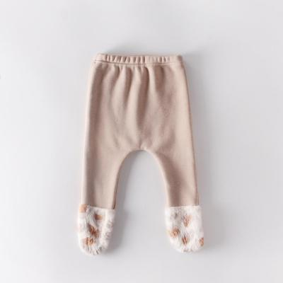 Autumn Winter Baby Leopard Print Stitched with Velvet Leggings
