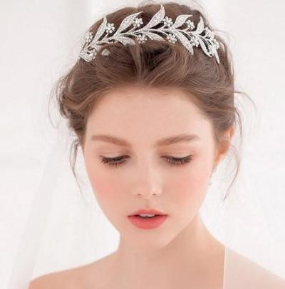 Photography Crown Alloy Stunning Crystal Leaves Tiara