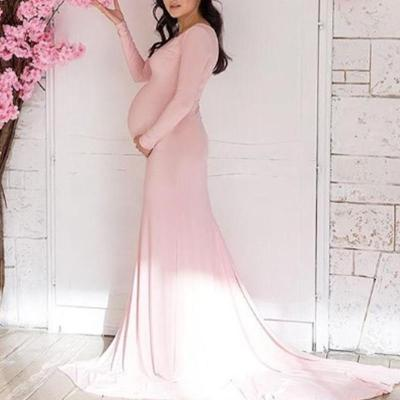 Maternity Casual Solid Color Round Neck Slim Mopping Dress