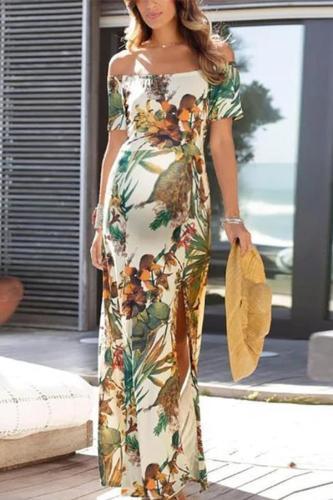 Maternity Fashion Off Shoulder Floral Printed Dress