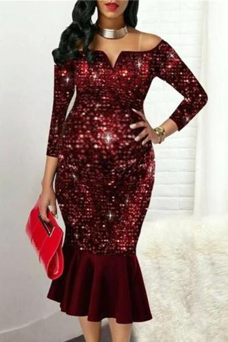 Maternity Elegant Off-the-Shoulder Sequins and Ruffled Hem Evening Gowns