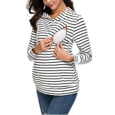 Striped hooded Nursing Dress Maternity Sweater Coat