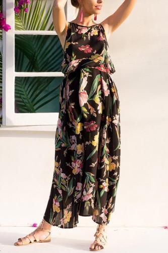 Maternity Printed Sleeveless Beach Dress