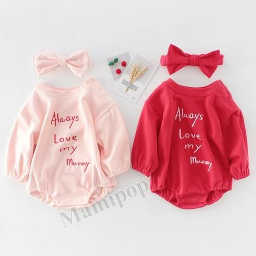 Baby Girl Letter Embroidered Long Sleeve Hardcover Baby Cotton One Piece Creeper Clothes Hair Sending Belt