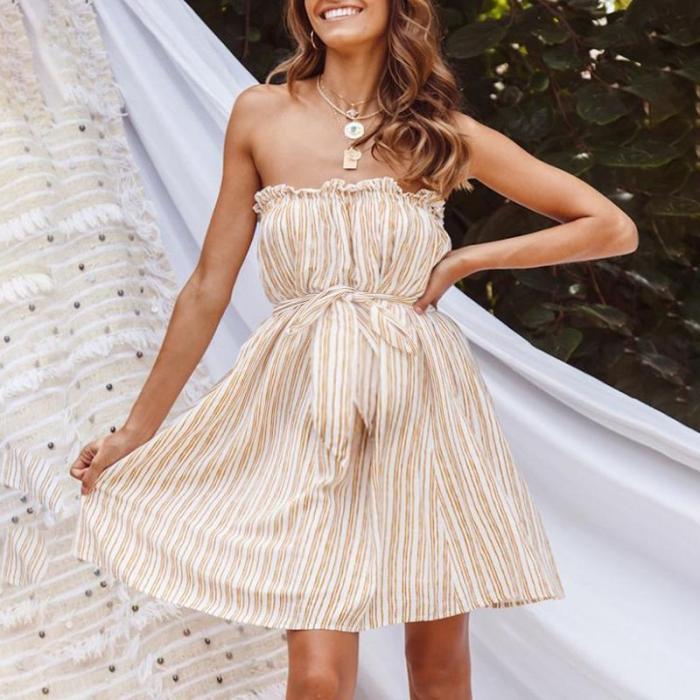Maternity Off Shoulder Stripe Casual Dress