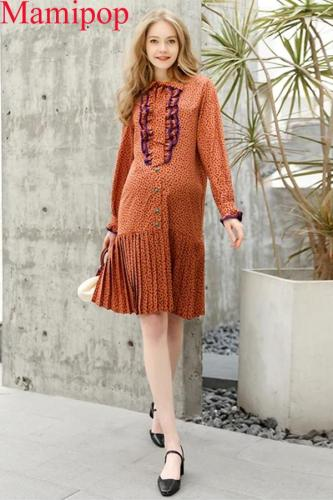 Long-sleeved V-neck Shirt Spring And Autumn Maternity Dress Pregnancy Dress