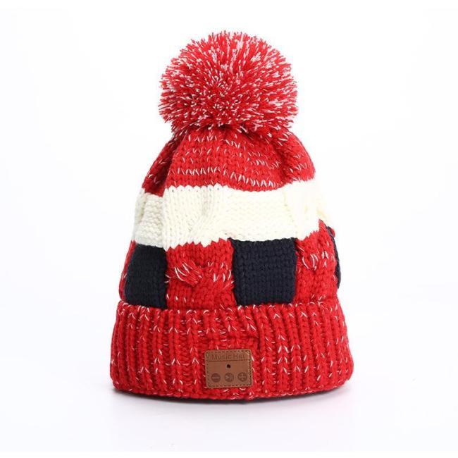 Fashion Winter Knit Wool Handmade Blue Tooth Earphone Hat
