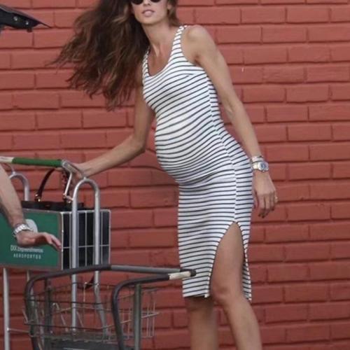 Maternity Stripe Vest Midi Dress