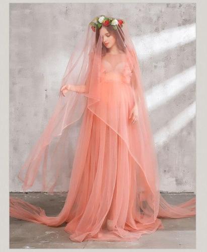 4pcs/Set Maternity Maxi Dress for Photography Chiffon Maternity Gown