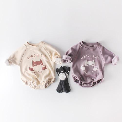 Winter baby round collar bat team warm jumpsuit climbing dress plus velvet thickening
