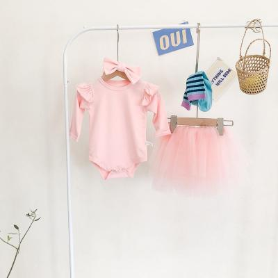 2020 New Baby Wood Ear Shoulder Hae- Net Yarn Semi-skirt and Hairband Three-piece Set