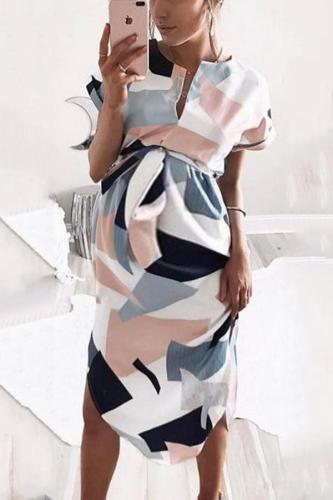 Maternity V-Neck Block Print Dress