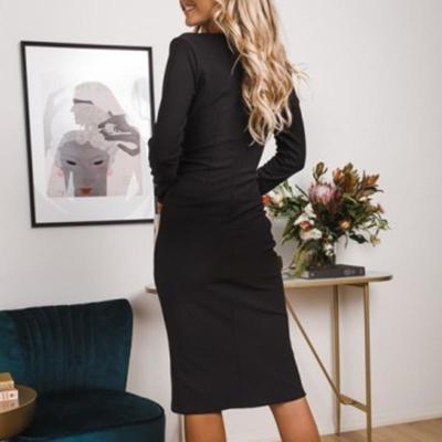 Maternity Fashion V Neck Long Sleeve Pure Colour Dress