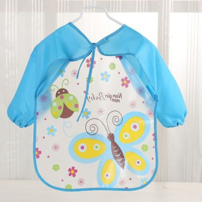 Baby Bee Print Bibs Toddler Boy Girl Long Sleeve Letter Waterproof Feeding Art Apron