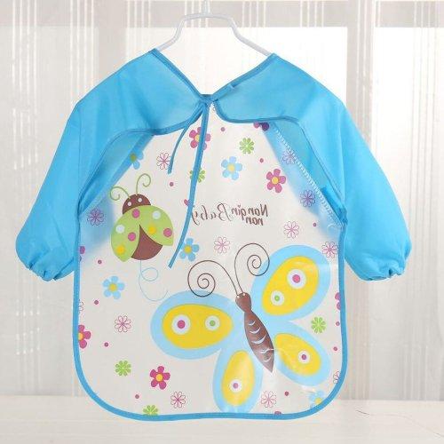 Baby Bee Print Bibs Toddler Boy Girl Long Sleeve Letter Waterproof Feeding Art Apron