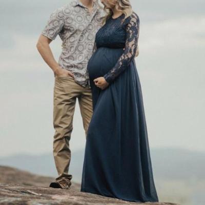 Maternity Lace Pure Color Dress