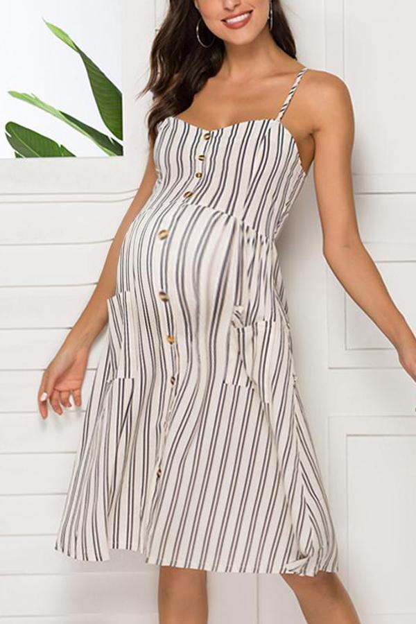 Maternity Spaghetti Strap Stripe Casual Dress