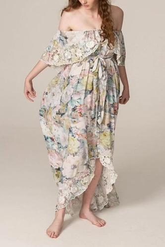 Maternity fashion word collar tube top floral loose dress
