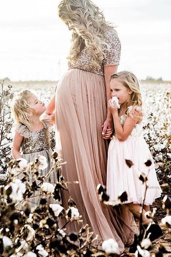 Maternity Maxi Tulle Dress With Tonal Delicate Sequins