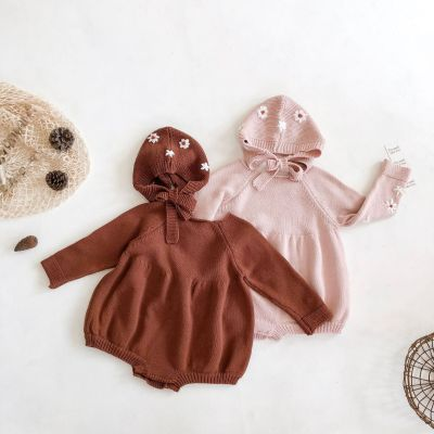 2020 Autumn Baby Flower Hand-embroidered Long-sleeved khaki Jumpsuit