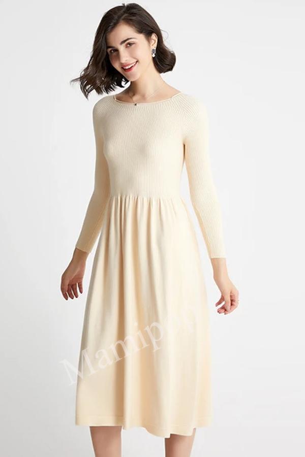 Dress Women's Long Round Neck Knitted Bottomed Long Sleeve Skirt Sweater