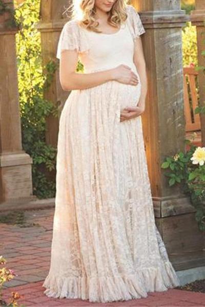 Maternity Flounced Lace Dress