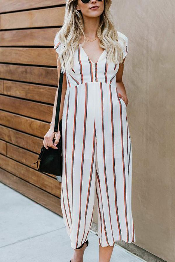 Maternity Casual V Neck Short Sleeve Stripe Jumpsuit