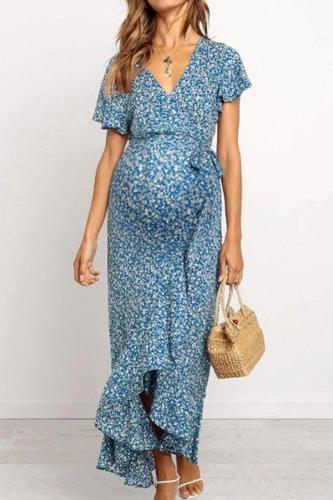 Maternity Fashion V-neck Floral Tie Ruffle Dress