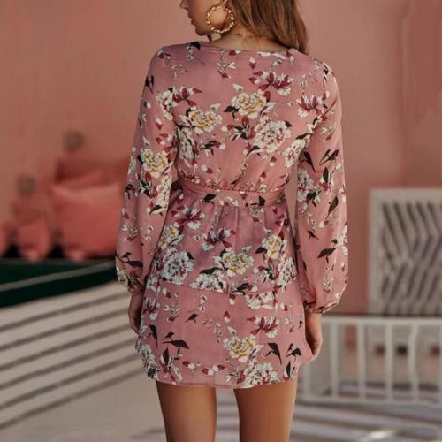Maternity Dress Deep V-neck Flower Print Lace Long Sleeve Dress
