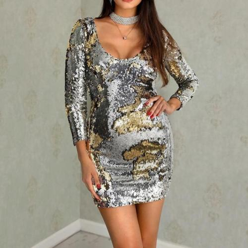 Maternity fashion serpentine sequins cultivating long-sleeved dress