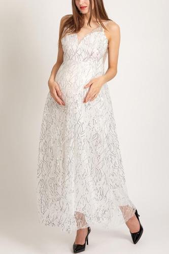 Maternity Deep V Open Back Sequins Large Swing Dress