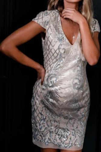 Maternity Fashion V-neck Print Short Sleeve Dress