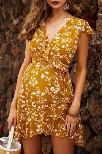 Maternity Casual V Neck Printed Ruffled Dress