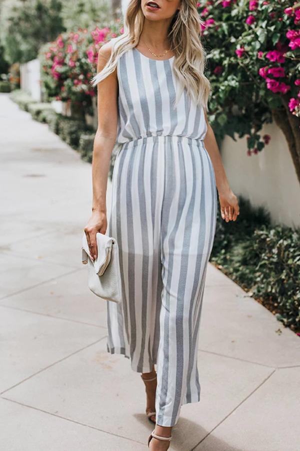 Maternity Vertical Striped Sleeveless Wide Leg Jumpsuit