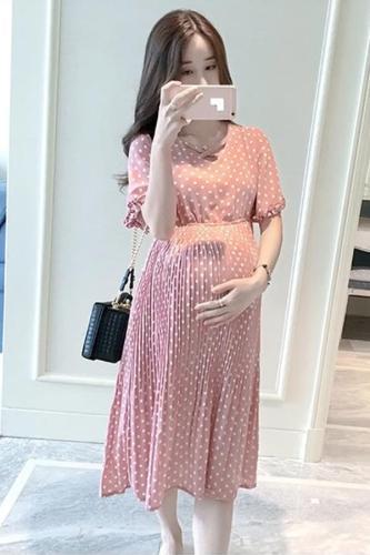 Chiffon Pregnant Women Plus Size Short Sleeve Casual Women Dress