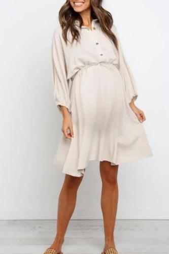 Maternity Lapel-Neck Cropped Sleeve Dress