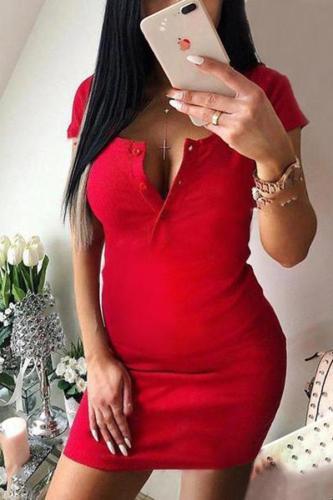 Maternity Short Sleeve Round Neck Bodycon Mini Dress